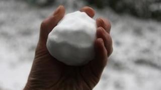 Hand holding a snowball