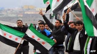 Freedom Convoy activists near the Turkish-Syrian border city of Kilis