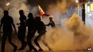 Anti-government protesters in Manama