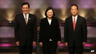 File picture of Ma Ying-jeou, left, Tsai Ing-wen, centre, and James Soong, right at a televised debate in Taipei, Taiwan, on 3 December, 2011