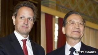 US Treasury Secretary Timothy Geithner (left) with Chinese Premier Wen Jiabao