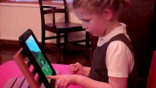 Veronica playing the FindMe app