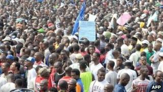 A huge crowd at a rally in Lagos on Wednesday 11 January 2012