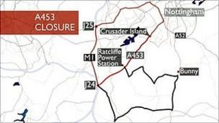Map of A453 closure and diversions
