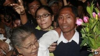 Student activist Ko Ko Gyi arrives in Yangon with flowers after his release - 13 January