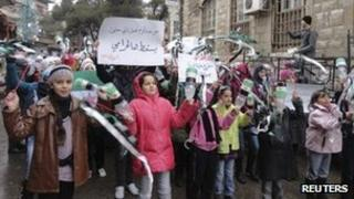 Photo posted online purportedly showing children protest against President Bashar al-Assad in Zabadani, near Damascus (13 January 2012)