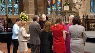 Staff being commissioned at the Centre for RE and Faith Development at St Giles' Church in Wrexham