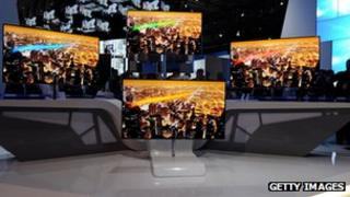 Samsung TVs at a booth