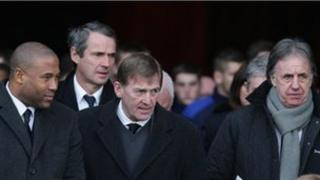 John Barnes, Alan Hansen, Kenny Dalglish and Mark Lawrenson at Gary Ablett's funeral