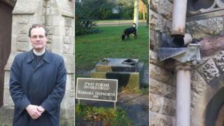 Vicar Matthew Tomlinson; base of stolen Barbara Hepworth statue and damaged guttering at St Augustine's Church