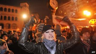 A protester in University square in Bucharest (17 Jan 2012)