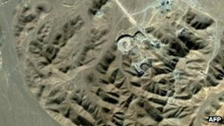 Satellite image showing the Iranian nuclear facility of Fordo in 2009