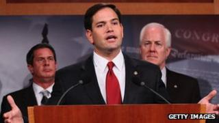 Marco Rubio speaks during a press conference 29 June 2011