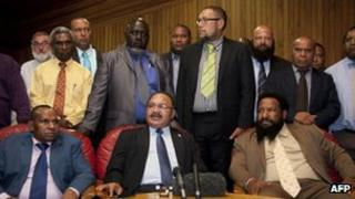 "Peter O""Neill, front centre, at a press conference in Port Moresby on 15 December, 2011"