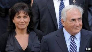 Anne Sinclair accompanies her husband Dominique Strauss-Kahn in New York after the case against him is dropped, 23 August 2011