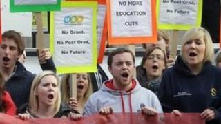 Students in Dublin protesting on 18 January against the abolition of grants for postgraduate students