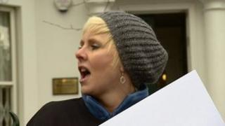 Janice Johnson at the protest in Birmingham