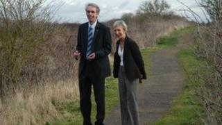 RSPB Regional Director Chris Corrigan and WSCC Leader Louise Goldsmith at Pagham Harbour