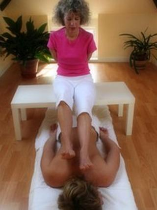 Sue Kent giving a massage