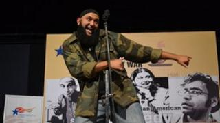 Azhar Usman at the performance of the Make Chai Not War comedy show presented by the American Center in Mumbai