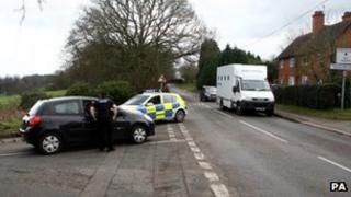 Prison van in Hewell Lane, Tardebigge, near Bromsgrove
