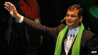 Rafael Correa at a ceremony on 14 Janaury to celebrate his five years in power