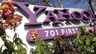 Yahoo company sign outside its headquarters in California