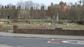 View from the cycle route, over the Jolly Boatman site to the palace
