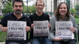Filmmaker Joe Berlinger (left) West Memphis Three member Jason Baldwin (centre) and filmmaker Bruce Sinofsky
