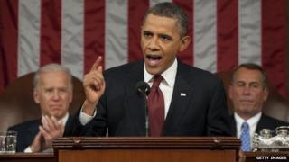 US President Barack Obama gives his State of the Union speech