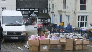 Ashbourne Market following theft of stalls