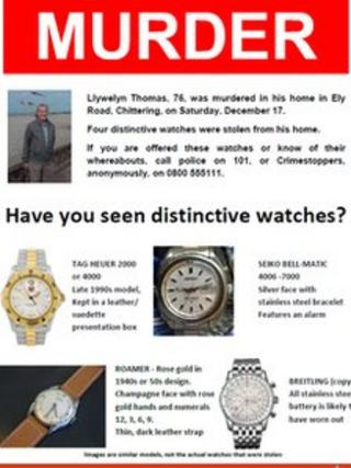 Poster showing watches stolen from a murder victim in Cambridgeshire