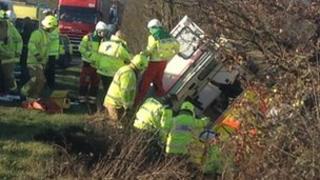 An ambulance in a ditch in Danbury, Essex