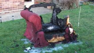Armchair from bungalow fire, Beccles