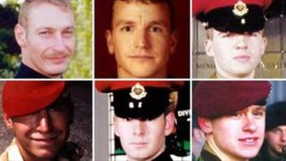 Top, from left: Sergeant Simon Alexander Hamilton-Jewell; Corporal Russell Aston; Corporal Paul Graham Long. Bottom, from left: Corporal Simon Miller; Lance-Corporal Benjamin Hyde; Lance-Corporal Thomas Keys