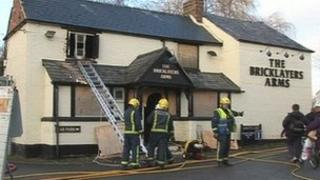 Firefighters at The Bricklayers Arms