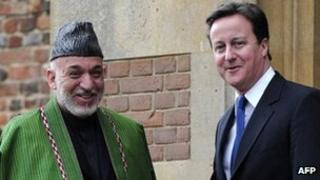 President Hamid Karzai and Prime Minister David Cameron at Chequers