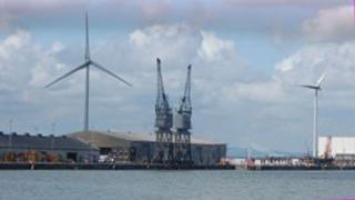 Two of the three turbines owned by Ecotricity