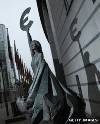 Euro sculpture outside European Parliament, Brussels (file photo - Nov 2011)