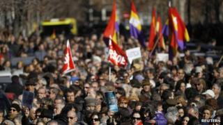 Demonstration in Madrid, Spain (29 Jan 2012)