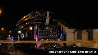 Fire crews took about three hours to bring the blaze under control