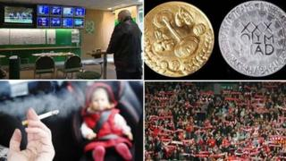Betting shop, Olympic coins, football fans, smoker in car with child
