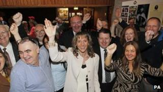 Martina Anderson, Mark Durkan and the Derry delegation celebrate in Comhaltas offices in Dublin