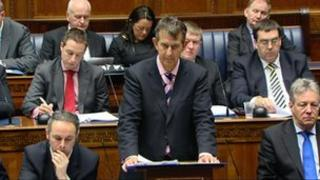 Edwin Poots speaking in the assembly on Tuesday