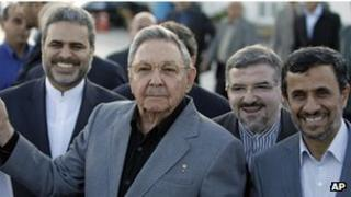 President Ahmadinejad with Raul Castro in Cuba (12 Jan 2012)