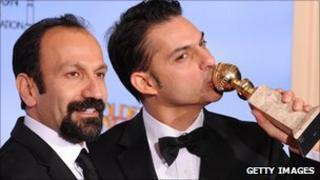 Director Asghar Farhadi (l) actor-screenwriter Peyman Moaad (r)