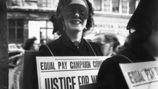 Women demand equal pay in a march in 1952