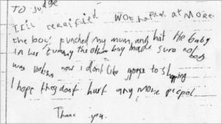 The girl's letter to the judge