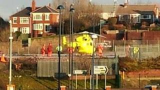 Yorkshire Air Ambulance at Barnsley railway station