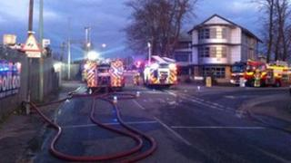 Fire engines at the scene of the fire in Claydon